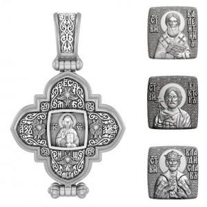 Мужской именной крест мощевик с иконой вашего святого 05АС