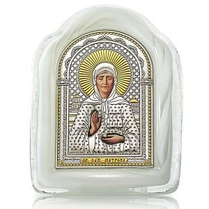 Святая Матрона Московская. Икона в муранском стекле