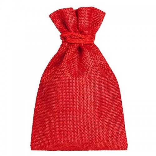 Мешочек подарочный холщовый, 15х10 см, красный