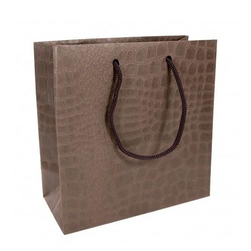 Пакет подарочный маленький, 15х14 см, коричневый