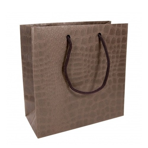Пакет подарочный маленький коричневый (под кожу)
