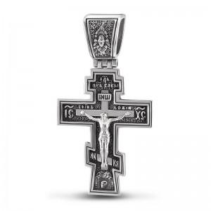 Серебряный православный крест «Распятие Христово» — код товара 101