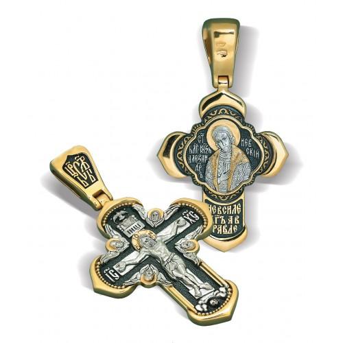 Нательный православный крестик Александр Невский