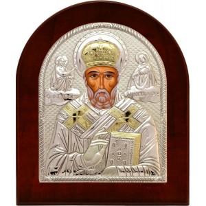 Святитель Николай Чудотворец. Икона в серебряном окладе (золочение) 713 OVX-B