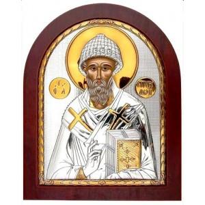 Св. Спиридон Тримифунтский. Икона в серебряном окладе (золочение) 732 OVX