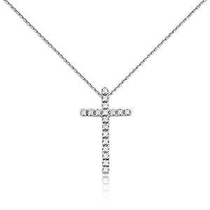Крестик с бриллиантами 0,15 Ct из белого золота