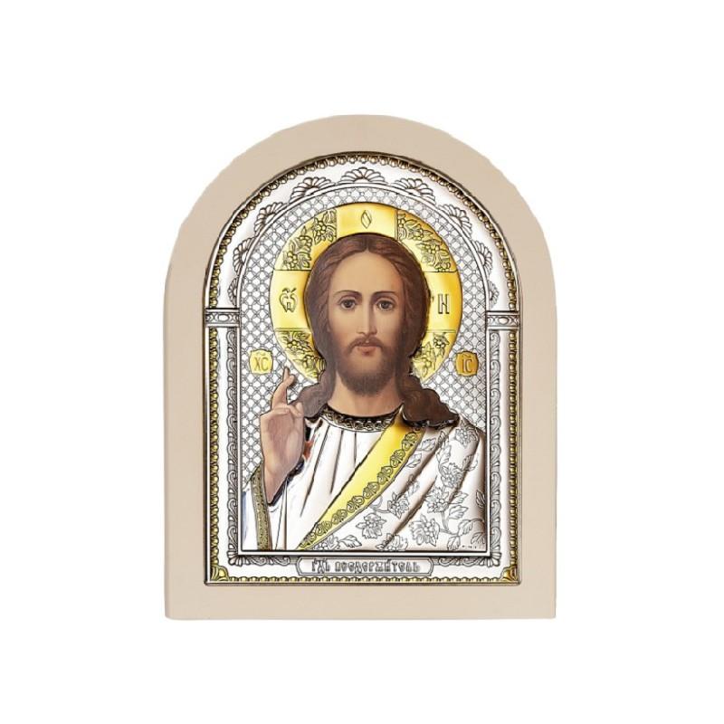 Господь Благословляющий. Икона в серебряном окладе (золочение) И-Д(Б)Р-ИХ