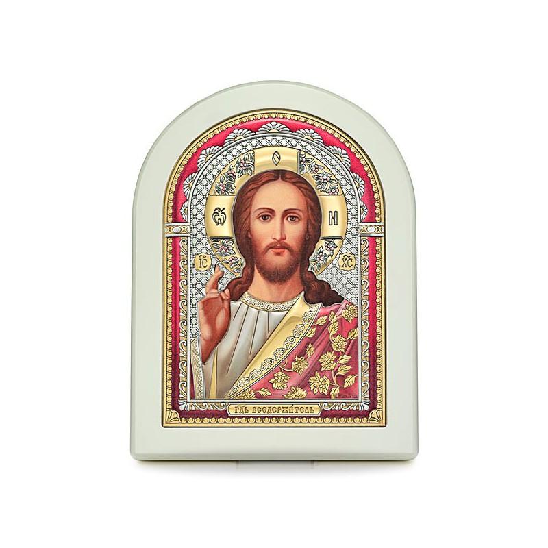 Господь Благословляющий. Икона в серебряном окладе (эмаль, золочение) И-Д(Б)Ц-ИХ