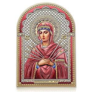 Семистрельная икона Богородицы. Серебряный оклад. Эмаль