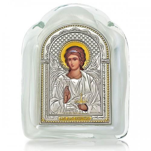 Икона «Ангел-Хранитель» (серебро, муранское стекло, золочение) И-М(Б)-АХ