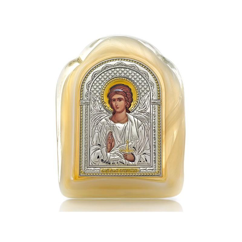 Икона «Ангел-Хранитель» (серебро, муранское стекло, золочение) И-М(З)-АХ