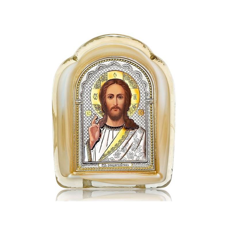 Господь Благословляющий. Икона в муранском стекле
