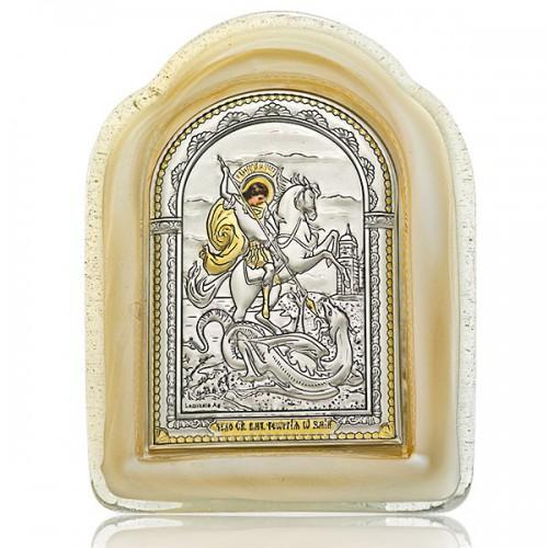 Чудо Георгия Победоносца о змие. Икона в муранском стекле