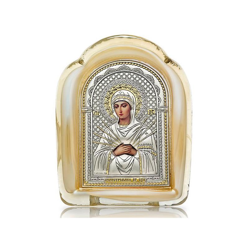 Семистрельная Божия Матерь. Икона в муранском стекле