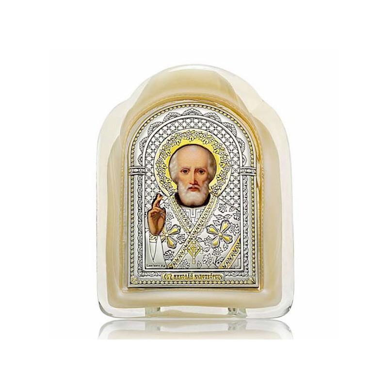 Святитель Николай Чудотворец. Икона в муранском стекле