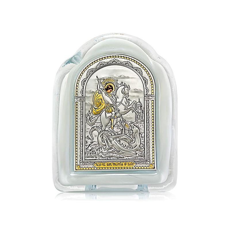 Чудо Святого Георгия о змие. Икона в муранском стекле