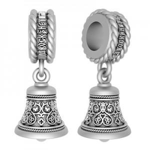 Серебряная бусина для браслета «Да Воскреснет Бог»