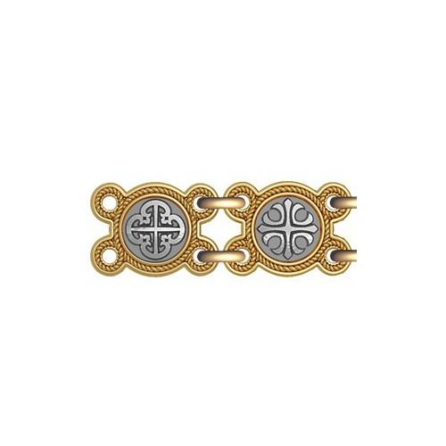 Серебряная цепь с позолотой «Процветший крест» 40.771