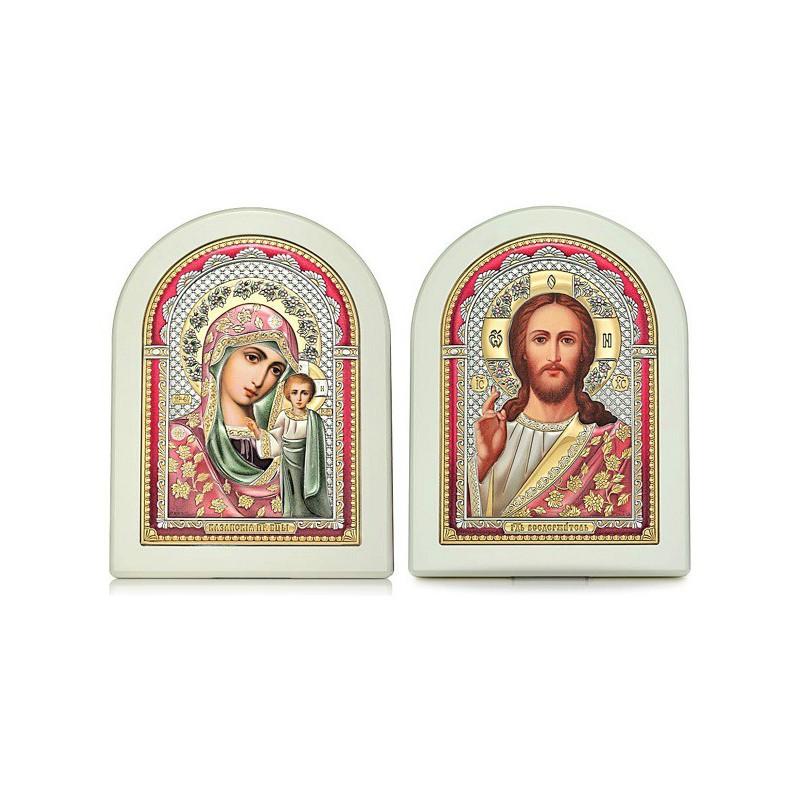 Господь Благословляющий. Казанская икона Божией Матери. Венчальная пара Арт. ВП-ЦБ
