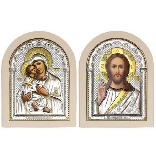 Господь Благословляющий. Владимирская икона Богородицы. Венчальная пара Арт. ИХ-ВБМ-Б