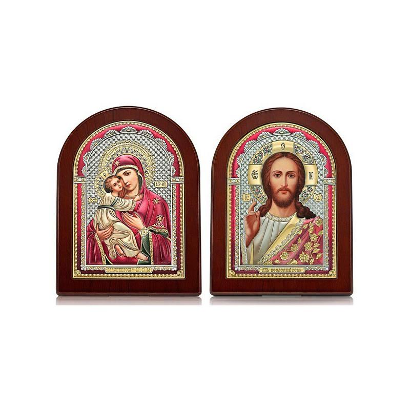 Господь Благословляющий. Владимирская икона Богородицы. Венчальная пара Арт. ИХ-ВБМ-Ц