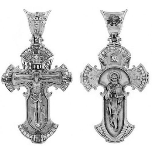Крест из белого золота «Распятие. Свт. Николай» 3012