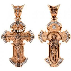 Крест из черненого золота «Распятие. Свт. Николай» 3012
