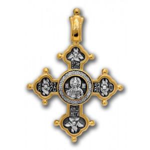 Позолоченный нательный крест «Похвала Богородице» (арт 101.025)