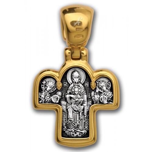 Православный крест «Спас на престоле. Божия Матерь на престоле» 101.027