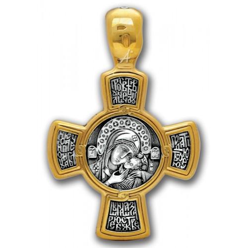 Нательный православный крест «Спас. Касперовская икона Божией Матери» 101.029