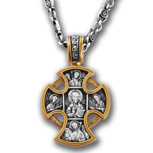 Нательный православный крест «Спас в Деисусе» (арт 101.028)