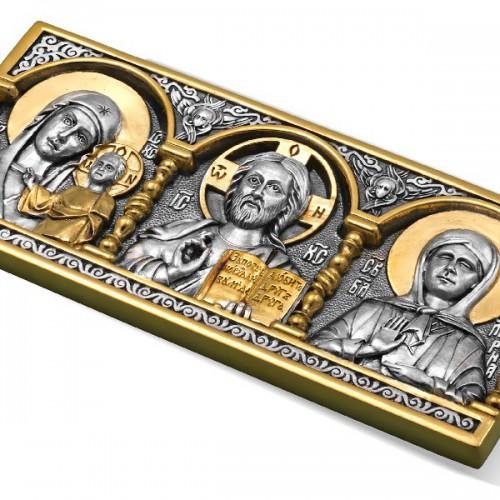 Икона в машину «Спаситель, Богородица, Св. Матрона» ИД-2