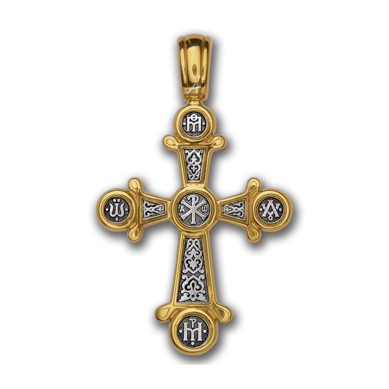 Нательный православный серебряный крест с позолотой «Хризма» 101.048
