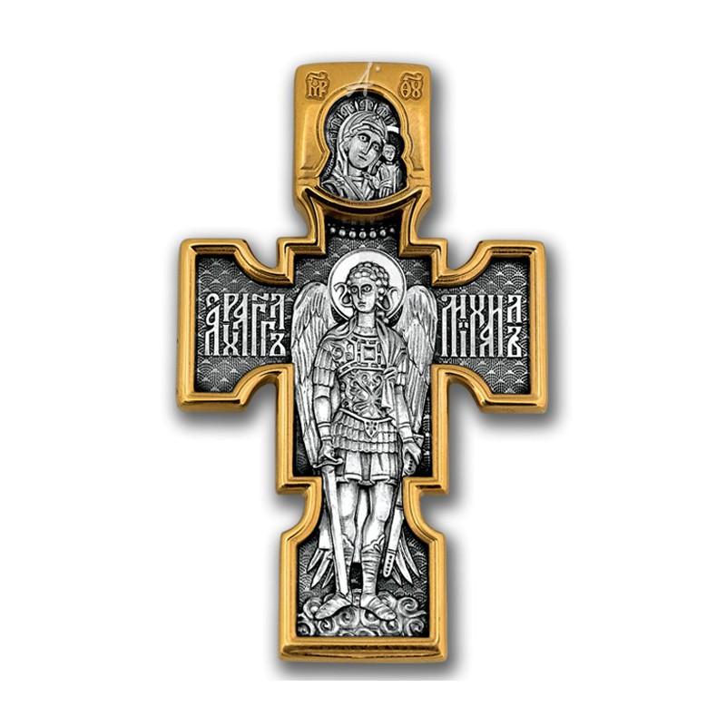 Позолоченный нательный крестик «Архистратиг Михаил» (арт 101.084)