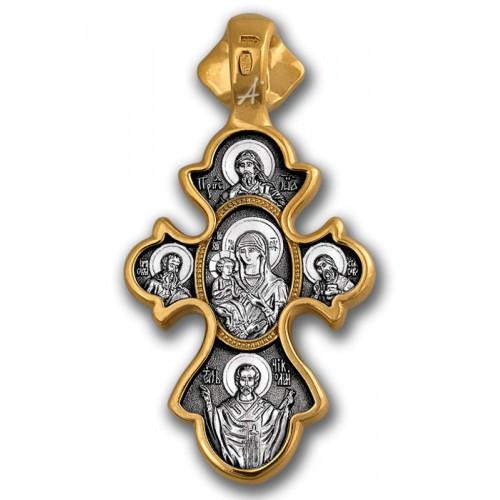 Нательный крестик. Богородица «Троеручица»