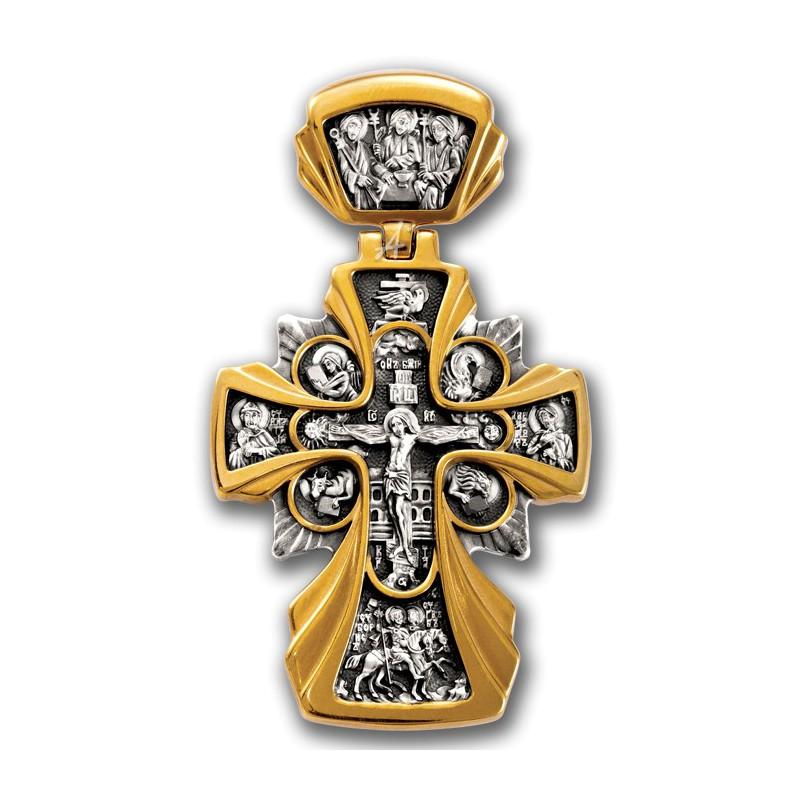 Большой нательный крест Распятие. Икона Божией Матери «Державная»