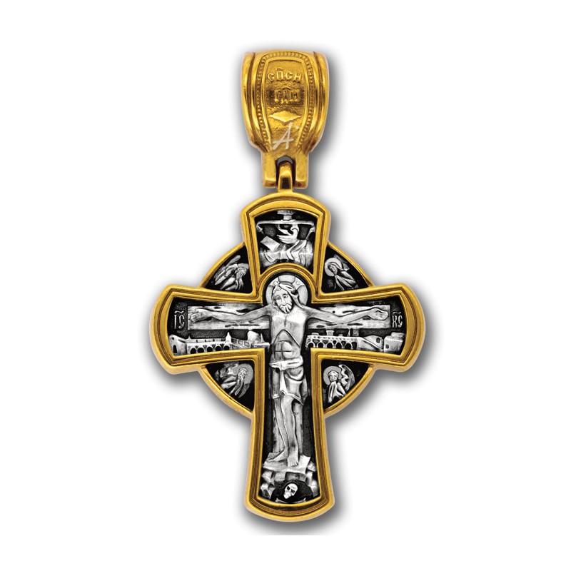 Позолоченный нательный крестик «Рождество Христово» (арт 101.231)