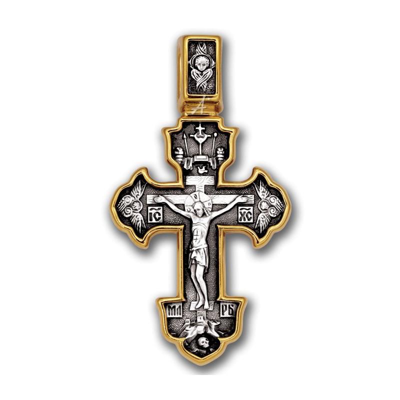 Серебряный крест с распятием. Ангел Хранитель