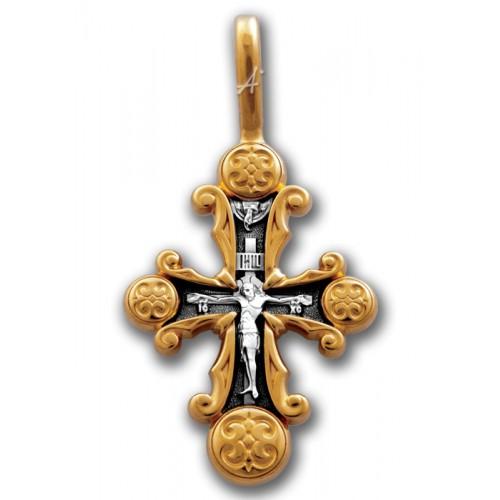 Позолоченный нательный крестик «Прославление» (арт 101.247)
