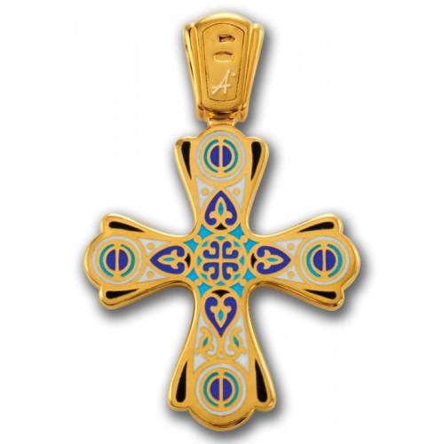 Позолоченный крестик с эмалью «Чудись Чуду» (арт 103.011)