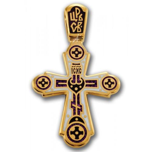 Позолоченный крестик с эмалью «Свет Христов» (арт 103.018)