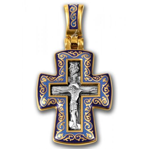 Позолоченный крестик с эмалью «Молитва Господу» (арт 103.071)