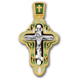 Крест с эмалью. Распятие. Покров Пресвятой Богородицы