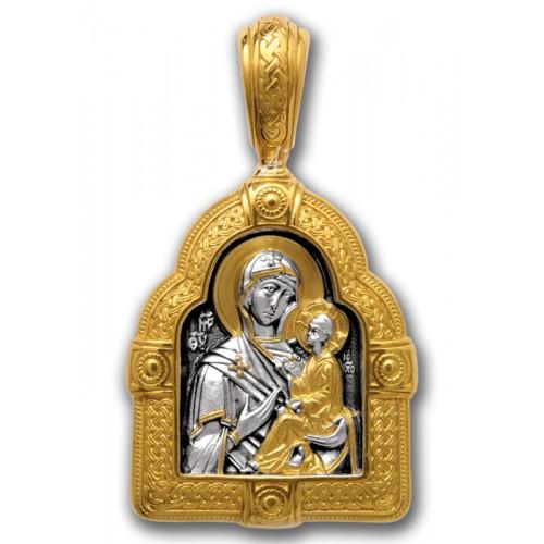 Тихвинская икона Божией Матери в золотом киоте