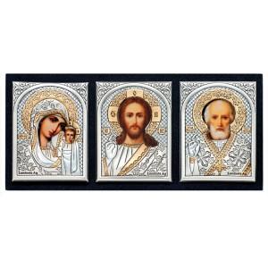 Казанская икона Божией Матери. Спаситель. Святитель Николай. Икона в машину Арт. АИ-2