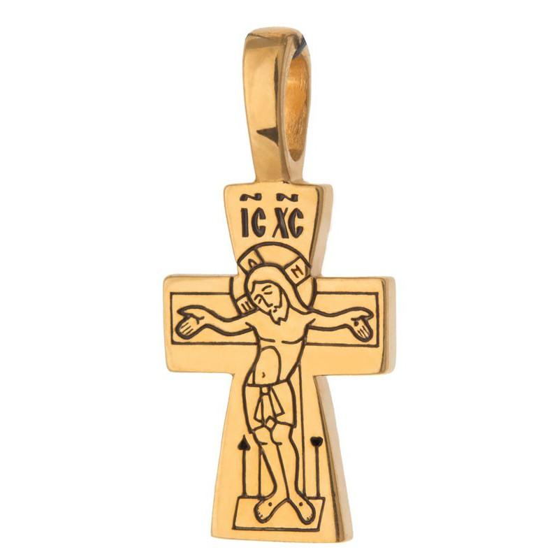 Маленький тельный крест (1,5 гр) «Ангел Хранитель» (Кс.747)