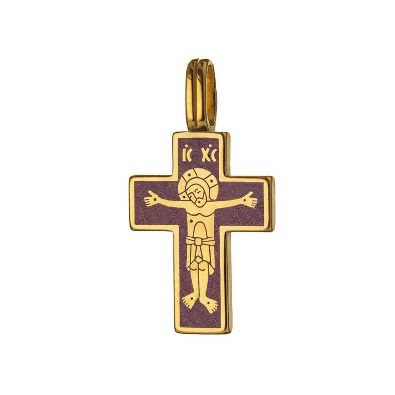 Нательный православный серебряный крест «Лоза» 721