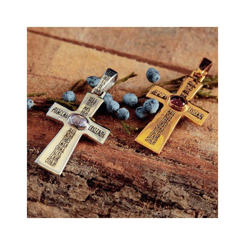 Крест большой с кабошоном 757 (вставка гранат)