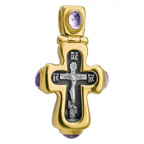 Нательный «Праздничный» крест с аметистами (Кс.587.2)