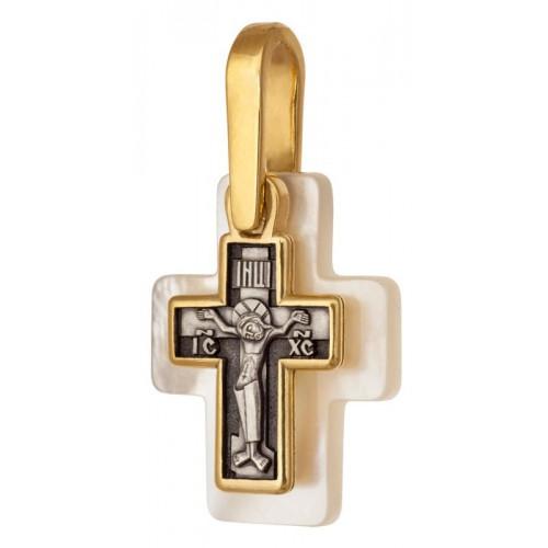 Позолоченный нательный крестик «Перламутровый» (Кс.770)